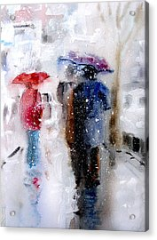 Snowing In The City Acrylic Print by Steven Ponsford