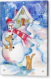 Snowman And Kitten Acrylic Print by Sylvia Pimental