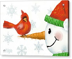 Snowman And The Cardinal Acrylic Print