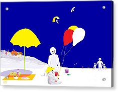 Acrylic Print featuring the digital art Snowman Family Holiday by Barbara Moignard