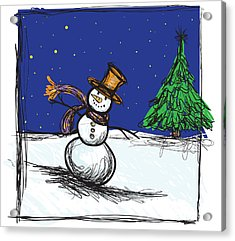Snowman Acrylic Print by HD Connelly