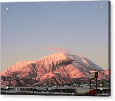 Snowy Mountain At Sunset Acrylic Print by Adam Cornelison