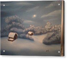 Snowy Night Acrylic Print by Thomas Hayes