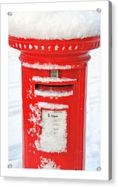 Snowy Pillar Box Acrylic Print by Mal Bray