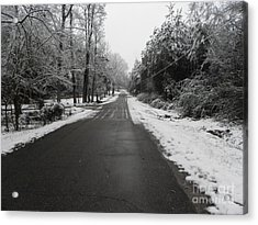 Snowy Street After A Winter Storm Acrylic Print by Cindy Hudson