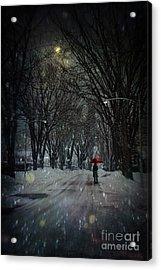 Snowy Winter Scene With Woman Walking At Night Acrylic Print by Sandra Cunningham