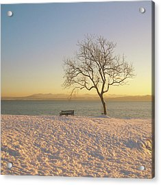 Snowy Winter Sunset Over The River Forth Acrylic Print