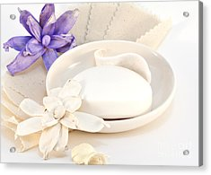 Soap With Flowers Acrylic Print by Blink Images