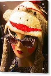 Sock Monkey Zebra Glasses Acrylic Print by Kym Backland