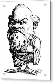 Socrates, Caricature Acrylic Print by Gary Brown