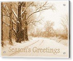 Soft Sepia Season's Greetings Card Acrylic Print by Carol Groenen