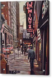 Acrylic Print featuring the painting Sol Mintz Men's Ware by James Guentner
