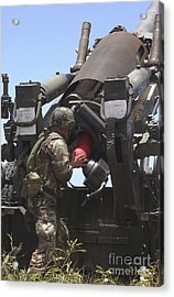 Soldier Loads A Charge Round Acrylic Print by Stocktrek Images