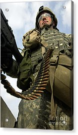 Soldier Mans A Vehicle Mounted 7.62 Mm Acrylic Print
