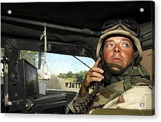 Soldier Monitors The Progress Of A 67 Acrylic Print by Stocktrek Images