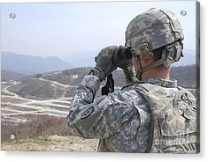Soldier Observes An Adjust Fire Mission Acrylic Print by Stocktrek Images