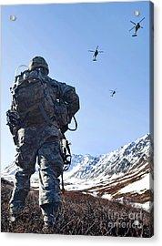 Soldier Patrols Through Alaska's Acrylic Print by Stocktrek Images
