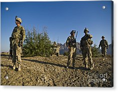 Soldiers Discuss A Strategic Plan Acrylic Print by Stocktrek Images