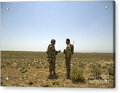 Soldiers Discuss, Drop Zone Acrylic Print by Stocktrek Images