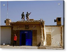 Soldiers Discuss The New Iraqi Police Acrylic Print by Stocktrek Images