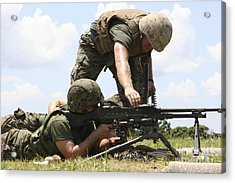 Soldiers Fire A M240g Medium Machine Acrylic Print