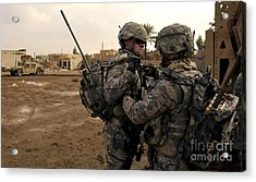 Soldiers Help One Another Acrylic Print by Stocktrek Images