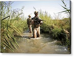 Soldiers Patrol Through An Irrigation Acrylic Print by Stocktrek Images