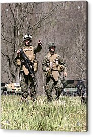 Soldiers Perform A Site Survey In Camp Acrylic Print by Stocktrek Images
