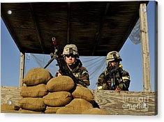 Soldiers Provide Security Acrylic Print