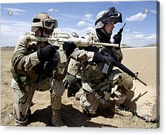 Soldiers Respond To A Threat Acrylic Print by Stocktrek Images