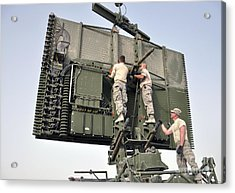 Soldiers Set Up A Tps-75 Radar Acrylic Print by Stocktrek Images