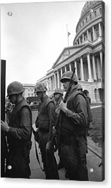 Soldiers Stand Guard Near Us Capitol Acrylic Print by Everett