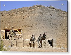 Soldiers Wait For Afghan National Acrylic Print by Stocktrek Images