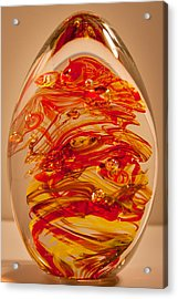 Solid Glass Sculpture Ef Fire Acrylic Print by David Patterson