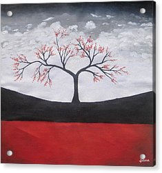 Solitary Tree-oil Painting Acrylic Print by Rejeena Niaz