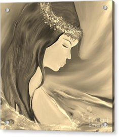 Acrylic Print featuring the drawing Solitude     Black And White by Lori  Lovetere