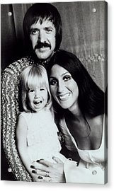 Sonny & Cher With Daughter Chastity Acrylic Print by Everett