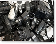 Sony Camera Stack Acrylic Print by Michael Wilcox