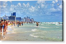 South Beach Acrylic Print by Dieter  Lesche