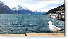 Acrylic Print featuring the photograph Southern Alps Across Lake Wakatipu by Laurel Talabere