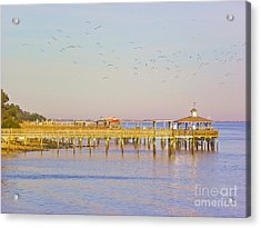 Acrylic Print featuring the photograph Southport Piers by Eve Spring
