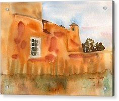 Acrylic Print featuring the painting Southwest Walled Monastery by Sharon Mick