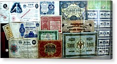 Soviet Currency At Euthimiev Monastry Prison Museum Acrylic Print by Padamvir Singh