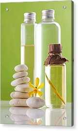 Spa Oil Bottles Acrylic Print by Atiketta Sangasaeng