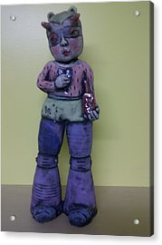 Space Girl With Tincture Bottle Acrylic Print by Kathleen Raven