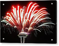Space Needle Fireworks Acrylic Print by Benjamin Yeager