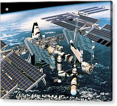 Space Shuttle Docked At The Space Station In Outer Space Acrylic Print by Stockbyte