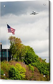 Space Shuttle Enterprise With Us Flag Acrylic Print by Anthony S Torres