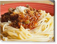 Spaghetti Bolognese Dish Acrylic Print by Andre Babiak