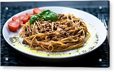 Spaghetti Bolognese Acrylic Print by Wojciech Wisniewski